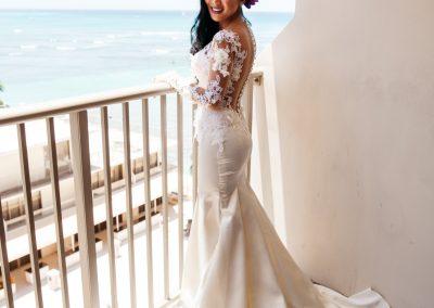 Nhu posing in her wedding dress
