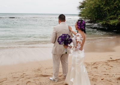 Nhu about to show her dress to her husband