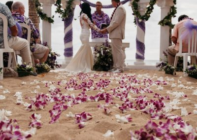 Nhu and her husband during their wedding ceremony