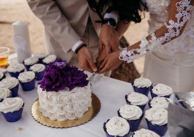 Nhu and her husband cutting their cake